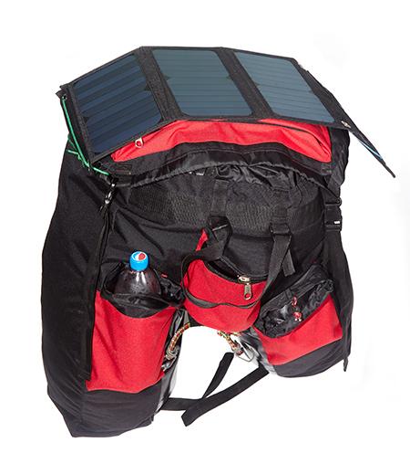 солнечная батарея на велорюкзаке